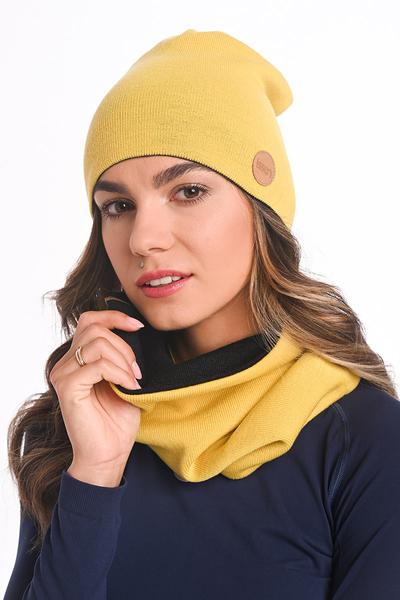 Czapka Dwustronna Merino Shaun Black-yellow IWC-91-10