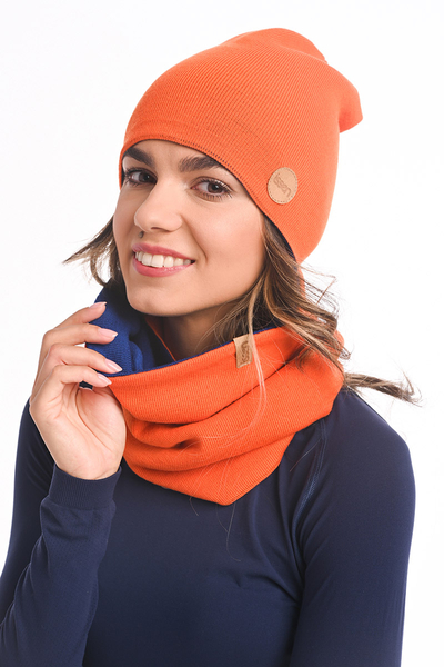 Czapka Dwustronna Merino Shaun Orange-navy blue IWC-30-80