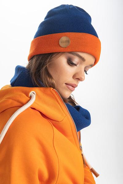 Czapka Dwustronna Merino Ulla Orange-navy blue IWC-30-80