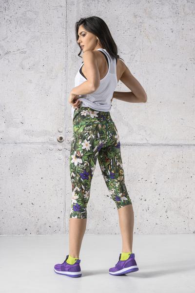 Colorful 3/4 4K Leggings Wild Flowers - OSTZ-13W1