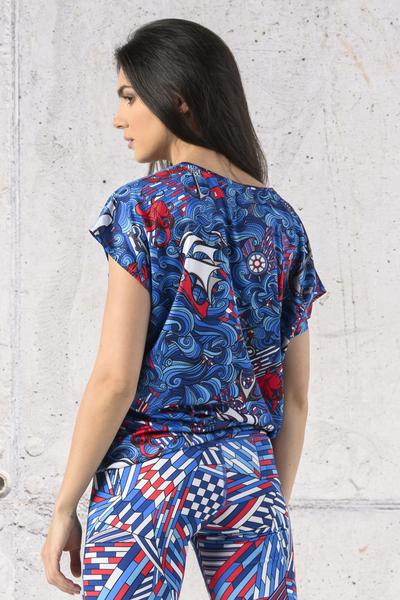 Koszulka Wiązana Fitness Blue Ocean - KFW-13F1
