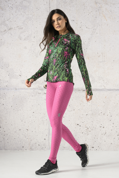 Running Leggings with a belt Shiny Royal Pink - OSLP-1120T