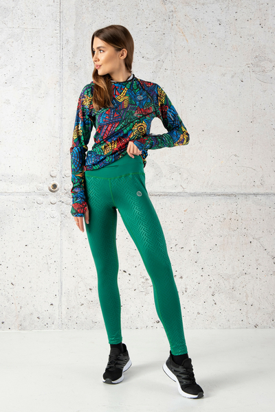 Running Leggings with a belt Shiny 2 Green - OSLP-1250T-G2