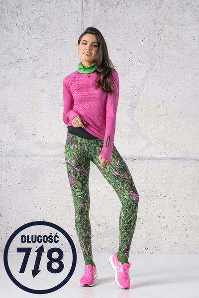 Running Leggings 7/8 with a belt Green Mystery - OSLP7-13L1