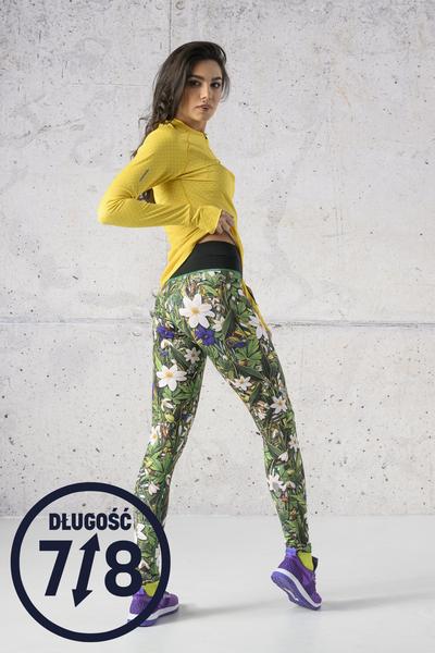Running Leggings 7/8 with a belt Wild Flowers - OSLP7-13W1