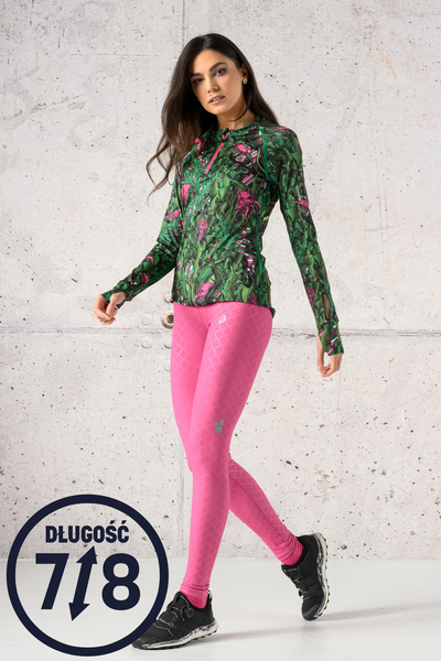 Running Leggings 7/8 with a belt Shiny Pink - OSLP7-1120T