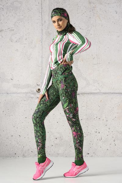 Running Leggings Green Mystery - OSLZ-13L1