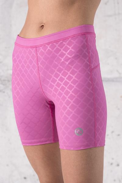 Short Leggings 2/3 Shiny Royal Pink - OSKD-1120T