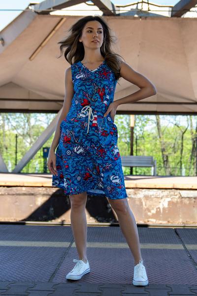 Sukienka bawełniana Blue Ocean - OSBL-13F1