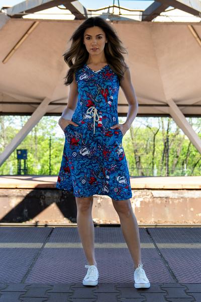 Sukienka bawełniana Mary Blue Ocean - OSBL-13F1